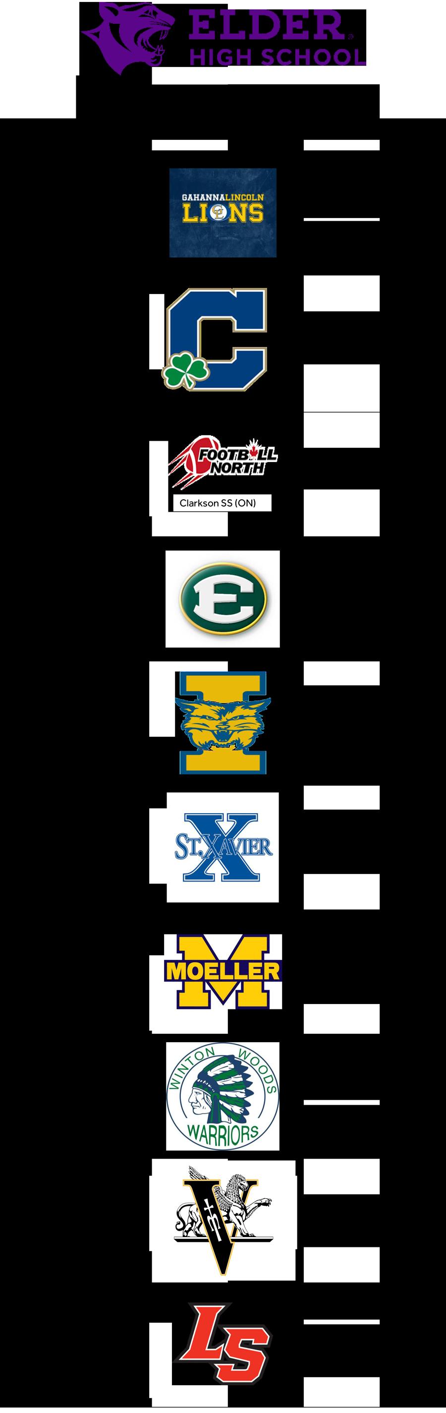 2018 Elder Football Schedule