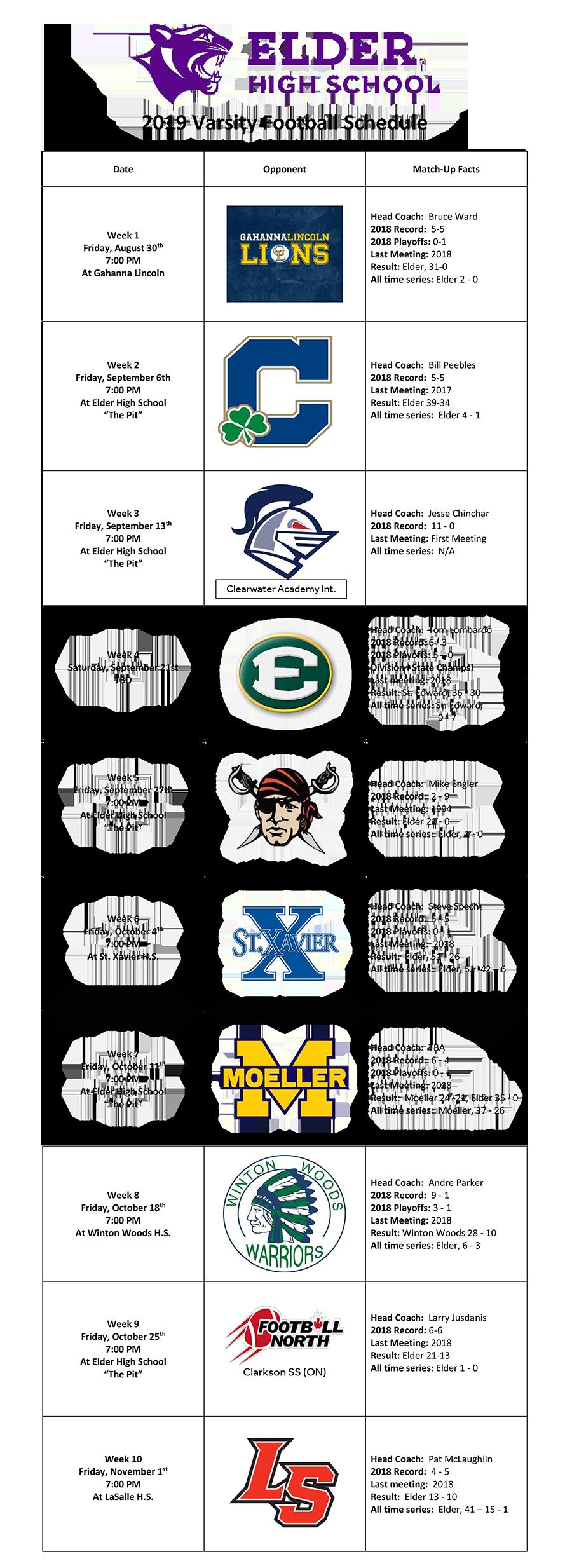 2019 Elder Football Schedule